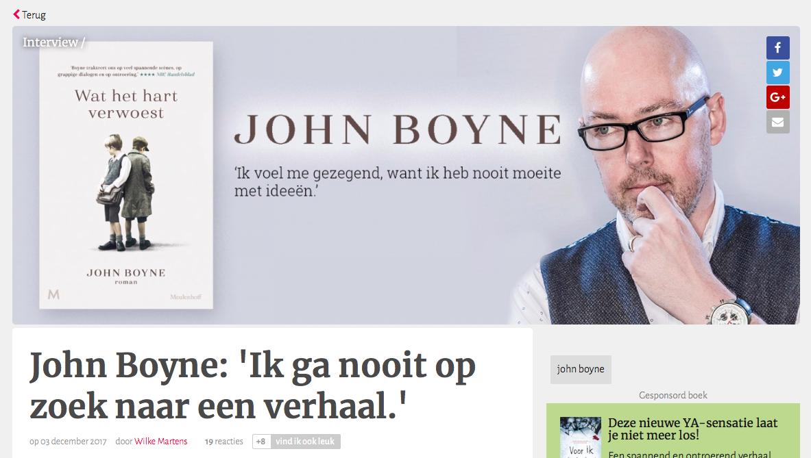 John Boyne: 'Ik ga nooit op zoek naar een verhaal'