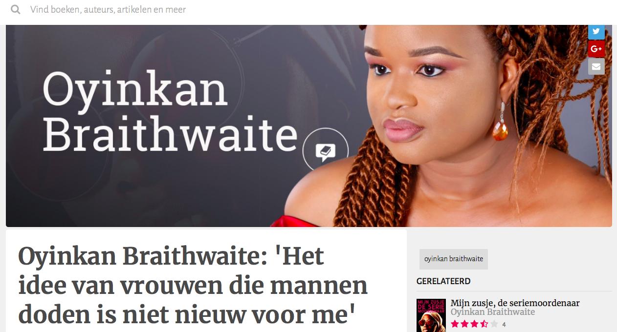 Oyinkan Braithwaite: 'Het idee van vrouwen die mannen doden is niet nieuw voor me'