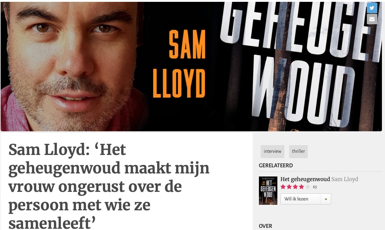Sam Lloyd: 'Het geheugenwoud maakt mijn vrouw ongerust over de persoon met wie ze samenleeft'