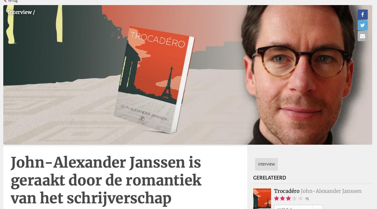 John-Alexander Janssen is geraakt door de romantiek van het schrijverschap