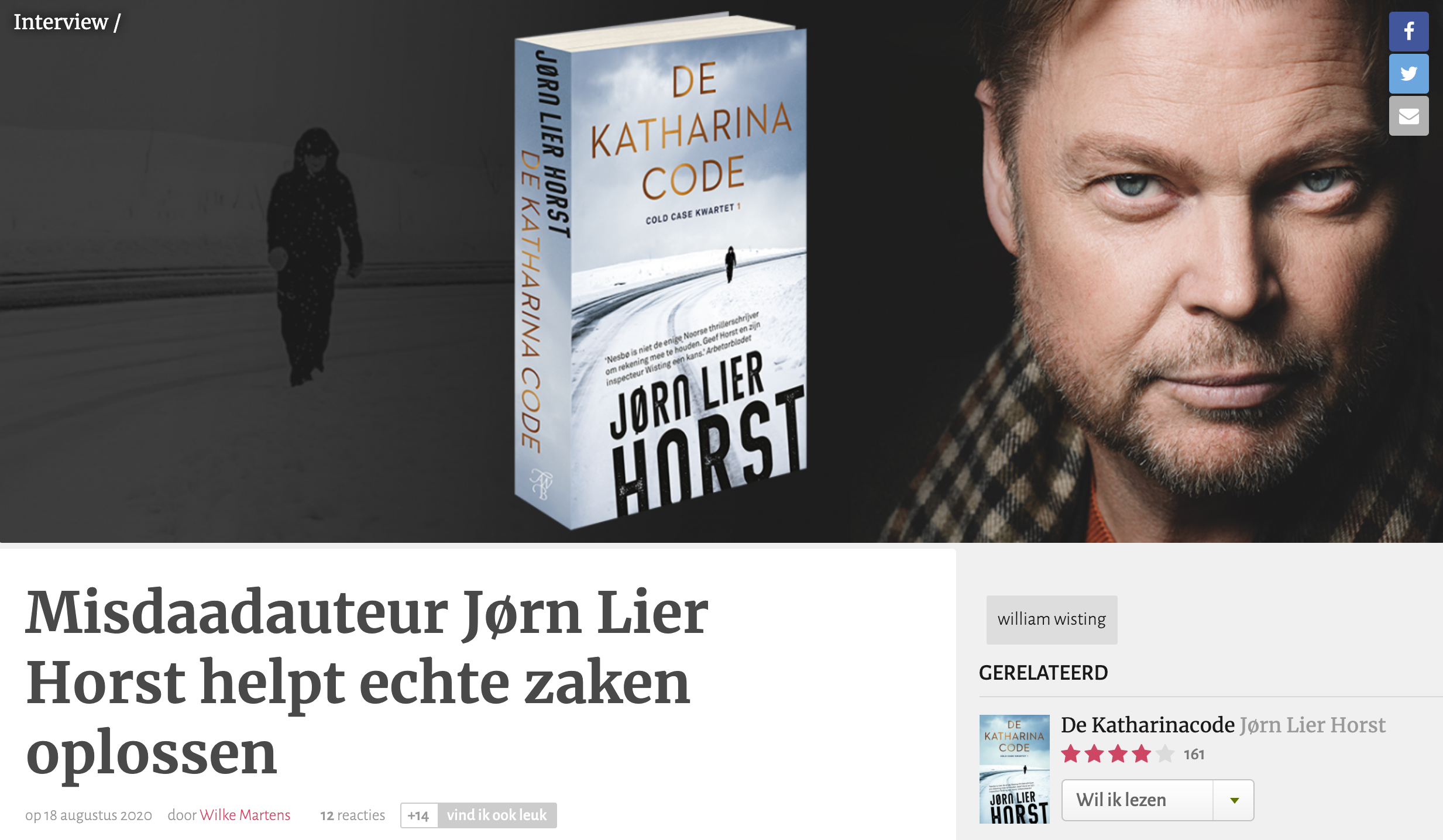 Misdaadauteur Jørn Lier Horst helpt echte zaken oplossen