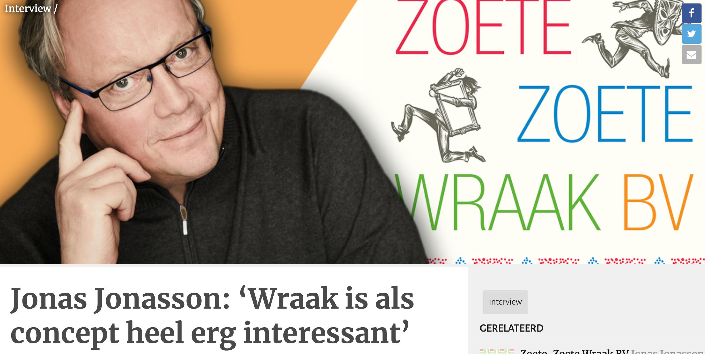 Jonas Jonasson: 'Wraak is als concept heel erg interessant'